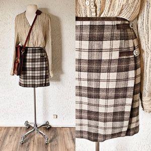 Coffee Colored Tartan Plaid Wool Wrap Skirt | Gap